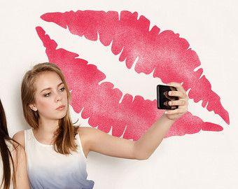 Large Lip Print Stencil - Reuseable Wall Decor Stencil