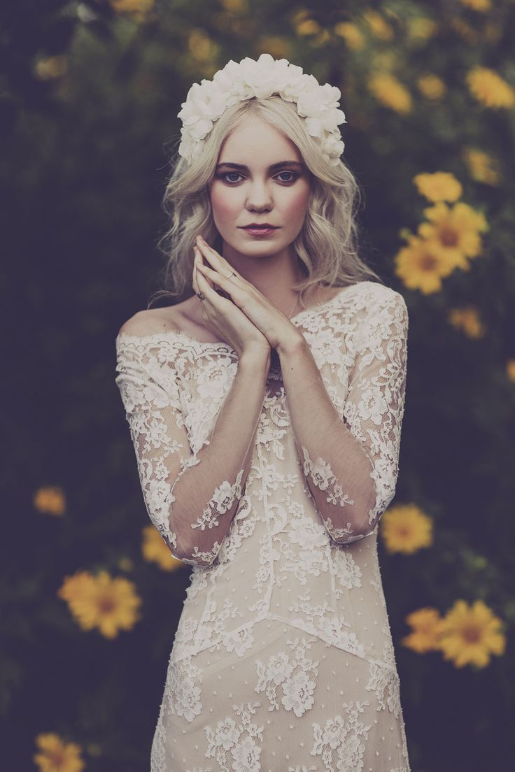 white floral headdress and lovely long lace sleeve wedding dress | photo by Julia Trotti