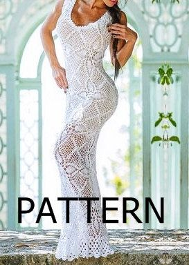 PATTERN long sexy crochet dress summer beach top by CopperLife