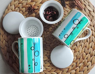 """@Behance portfolio: """"mug for infusion hand painted ceramic"""" http://be.net/gallery/49048435/mug-for-infusion-hand-painted-ceramic"""