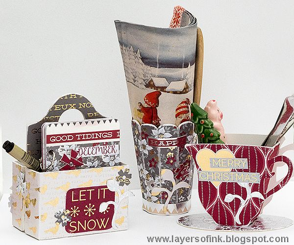 Layers of ink - Cranberry Christmas 3D Storage Tutorial by Anna-Karin. A trio of storage units/decorations and a mini-book, made with Eileen Hull's dies by Sizzix and Cranberry Christmas papers by DCWV.