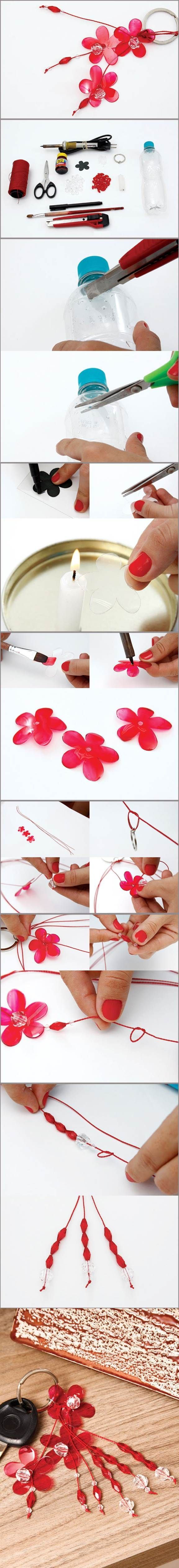 DIY Flower Key Chains from Plastic Bottle