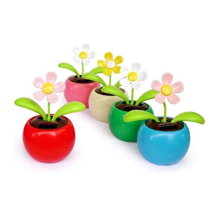 [Visit to Buy] Hot Solar Powered sunlight power Flip Flap leaves Flower Flowerpot For Car Swing automatic Flower Toy Gift #Advertisement