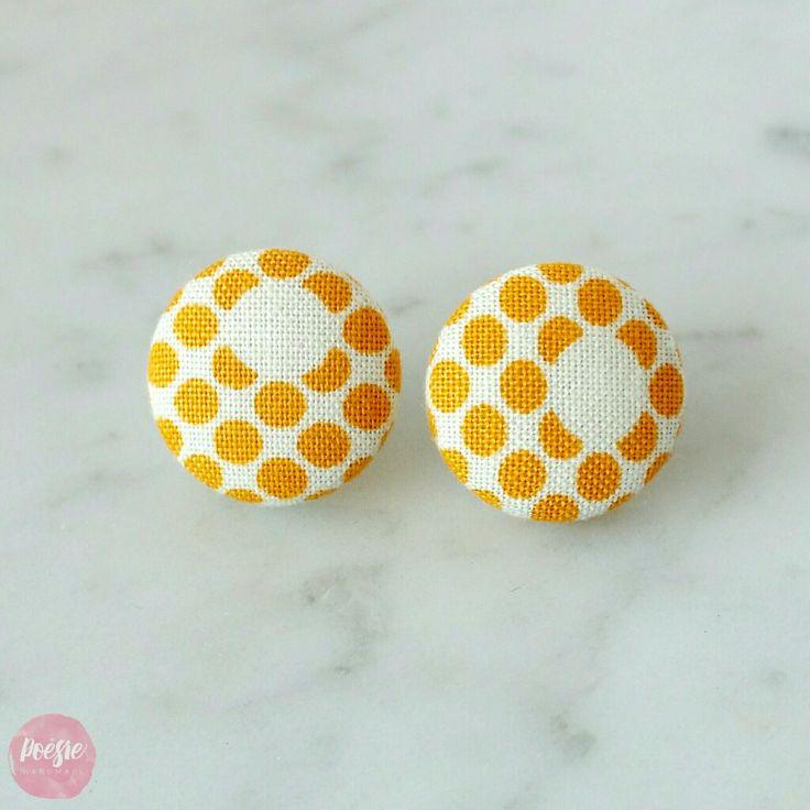 MUSTARD SPOT EARRINGS • Handmade Original Design Fabric Button Jewellery • Available from www.poesiehandmade.com
