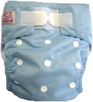 Happy Babes BABY BLUE One Size Nappy is a Modern Cloth Nappy (MCN) that can be worn from birth to toilet training. The One Size Nappy has plastic snaps on the front of the nappy allowing the rise of the nappy to be adjusted as your baby grows from birth to toilet training. Pocket Nappies consist of a waterproof outer which is usually a polyurethane laminated polyester and a cotton micofibre lining that is extremely soft against the baby's skin.