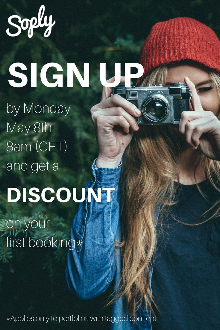Hello #freelancers! We would like to #welcome you to #signup to our #freelance #site by Monday May 8th, 8am (CET) to get a #discount on your FIRST BOOKING! If you are a new signup and #tag your #images in your #portfolio, you will get a discount, as well as make your #creativeportfolio more #searchable on the site! Signup NOW via this pin and start tagging!  For more information on how to tag, check out our #blogpost here: soply.com/articles/how-soply-works/tag-image-content