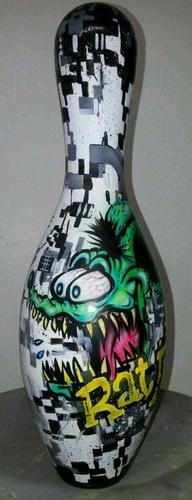 ratfink crazy camo Airbrushed Painted Bowling Pin