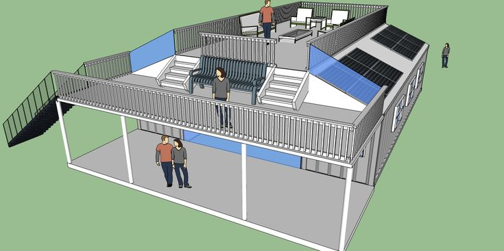 I think this is such a great design, it utilizes the space of the shipping containers, and this could easily be made into 2 stories and still have the decks, and solar panels.