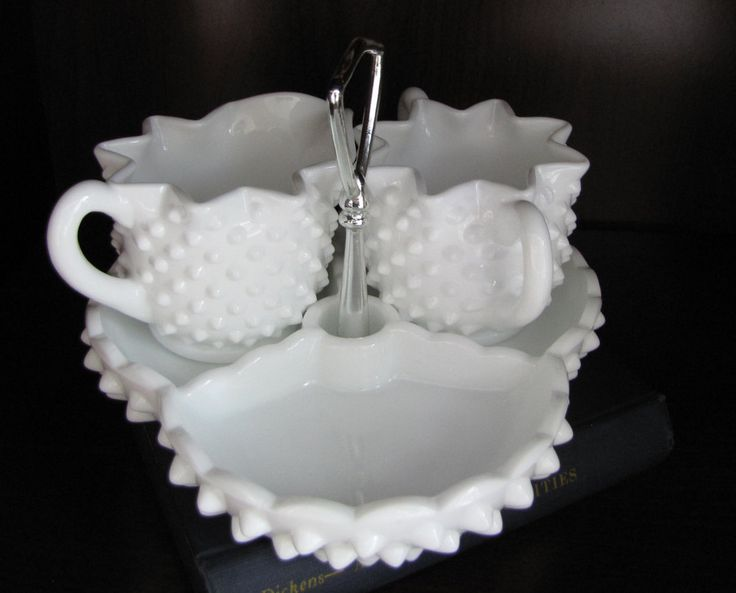 Milk Glass Creamer, Sugar w Tray; Hobnail Milk Glass by Fenton Star Shaped Open Sugar Bowl  Creamer; 3 Part Relish Tray with Handle Vintage by VintageeThings on Etsy