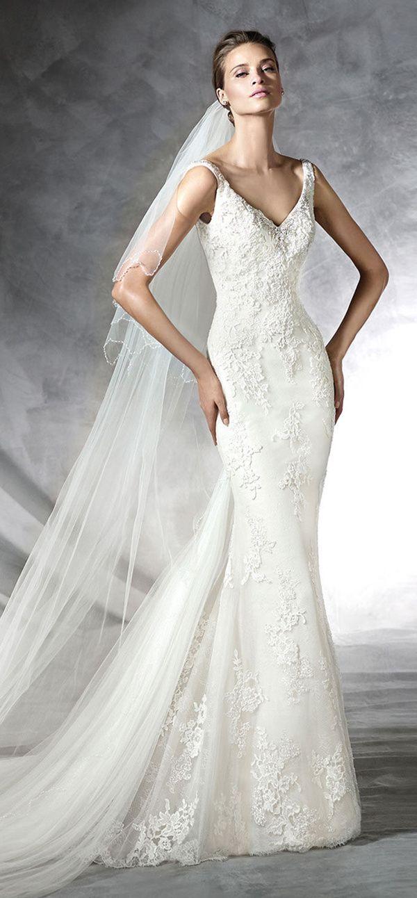 pronovias mermaid v neck 2016 wedding dresses PROSA_B