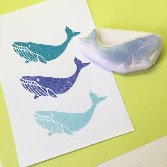 Timbro di gomma di megattera, balena blu bollo balenottera handcarved bollo balenottera boreale Rubber Stamp balena Minke mano…