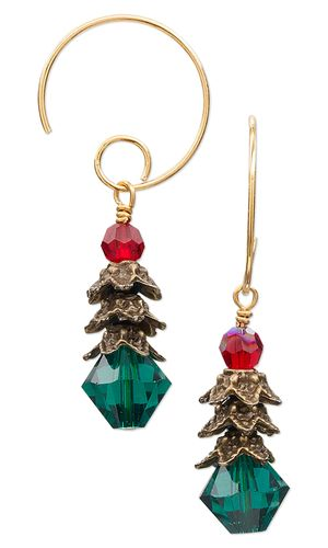 Christmas Tree Earrings with Swarovski Crystal Beads and Antiqued Brass Pewter Bead Caps by Jamie Smedley. #christmasjewelry