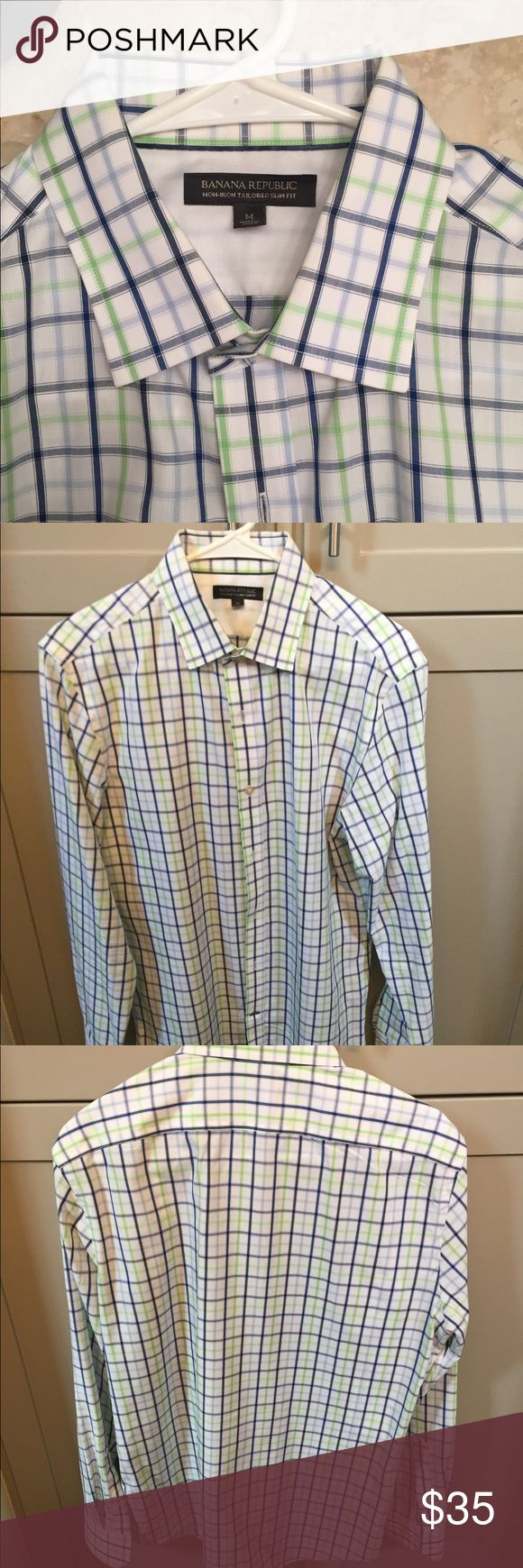 Banana Republic Slim Fit Men's Shirt Banana Republic Non-Iron Tailored Slim Fit Shirt Men's Dress Shirt.  Like new, barely worn. Size Medium Banana Republic Shirts Dress Shirts