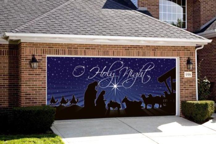 Garage Door Christmas Decorations | Nativity O Holy Night Outdoor Christmas Holiday Garage Door Décor 7'x16'