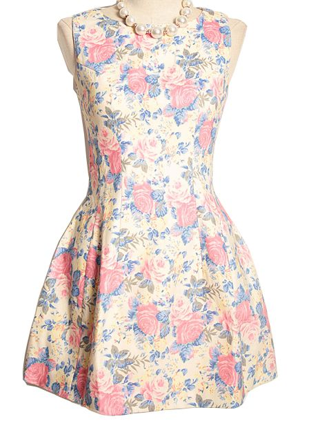 Pink Sleeveless Floral Print Flare Dress EUR€26.42