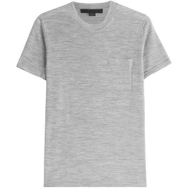 Alexander Wang Merino Wool and Silk T-Shirt ($365) ❤ liked on Polyvore featuring tops, t-shirts, grey, merino t shirt, grey t shirt, silk t shirt, slim fit tee and merino wool t shirt