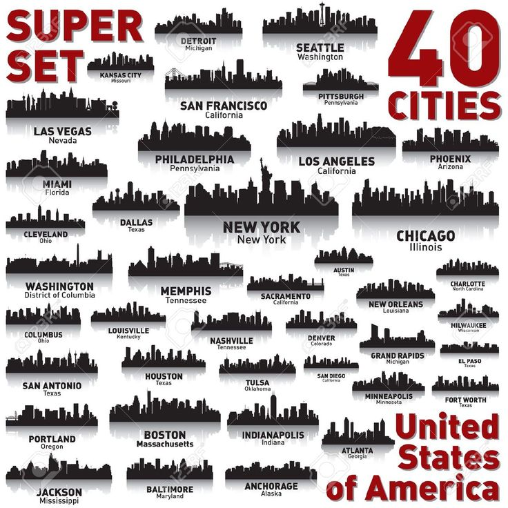phoenix skyline: Incredible city skyline set. 40 city silhouettes of United States of America