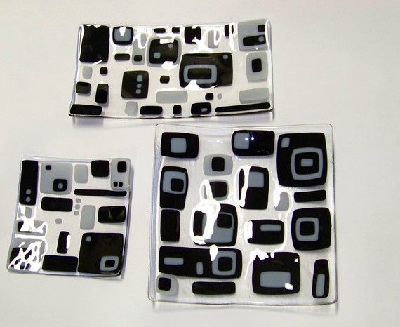 Black+and+white+and+grey+art+glass+platters+Winter+by+jensstudio,+$45.00