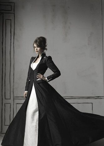 Ivory Dress with Black Chapel Coat - Steampunk and Goth Wedding Embedded with Bluetooth Technology and LED Light Notification System. $699.00, via Etsy.
