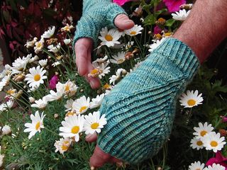 Straightforward Mitts by Simone Draeger. Free pattern knit in fingering weight yarn. They'd be nice & warm in Ultra Alpaca Light or Alpaca Sox. They'd be super soft in Ella Rae Lace Merino, and they'd be crazy in Zauberball.