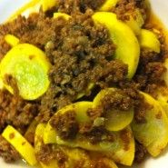 Ground Beef Chili with Stir-Fried Yellow Squash