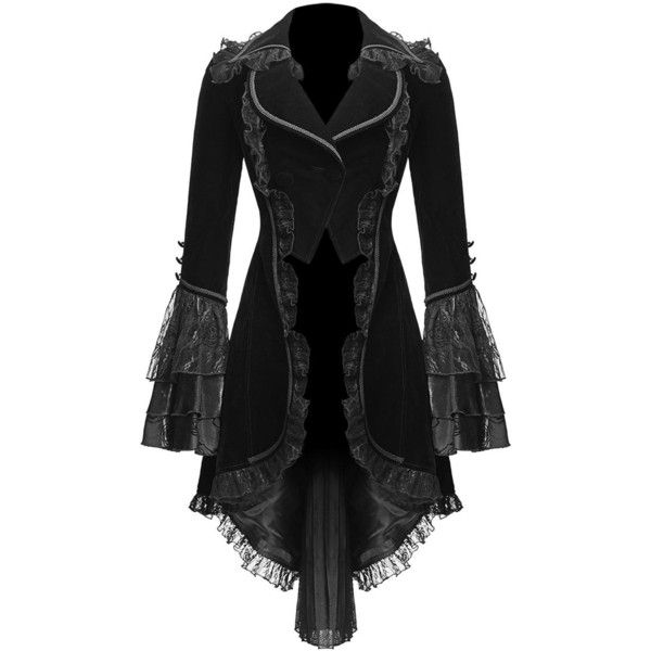 PUNK RAVE MELISANDRE TAILCOAT JACKET ($145) ❤ liked on Polyvore featuring outerwear, jackets, coats, goth, lace, punk jacket, tailcoat jacket and punk rock jacket