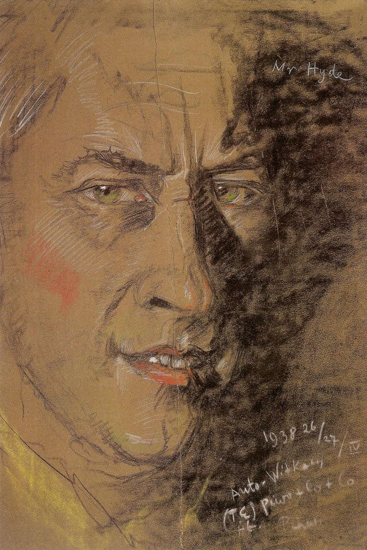 "Stanislaw Ignacy Witkiewicz (Witkacy) ""Mr. Hyde (Self-Portrait)"", 1938 26/27/IV, pastel on paper"