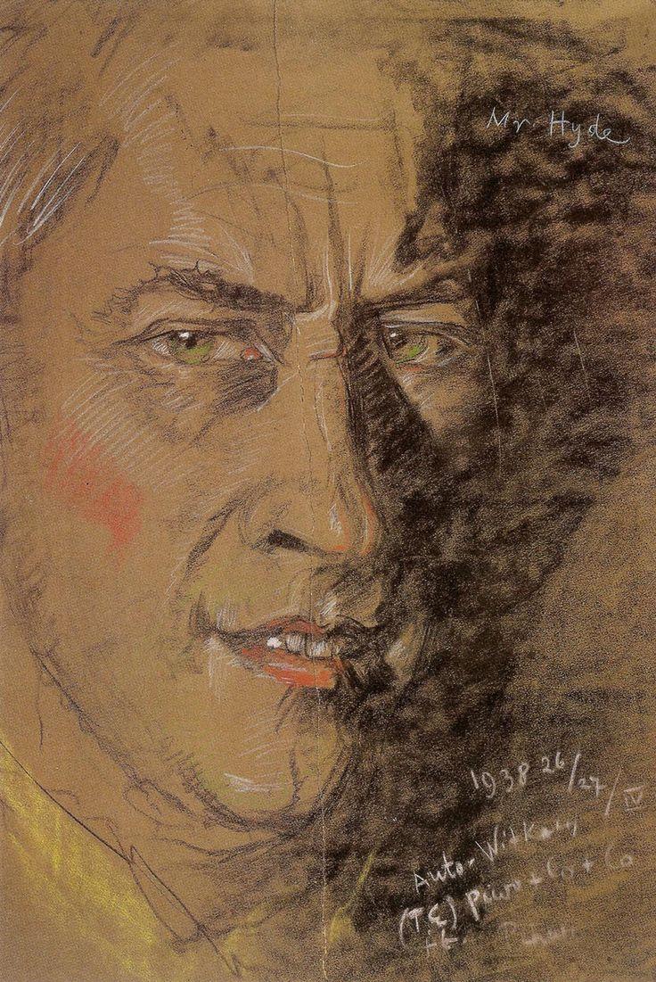 """Stanislaw Ignacy Witkiewicz (Witkacy) """"Mr. Hyde (Self-Portrait)"""", 1938 26/27/IV, pastel on paper"""