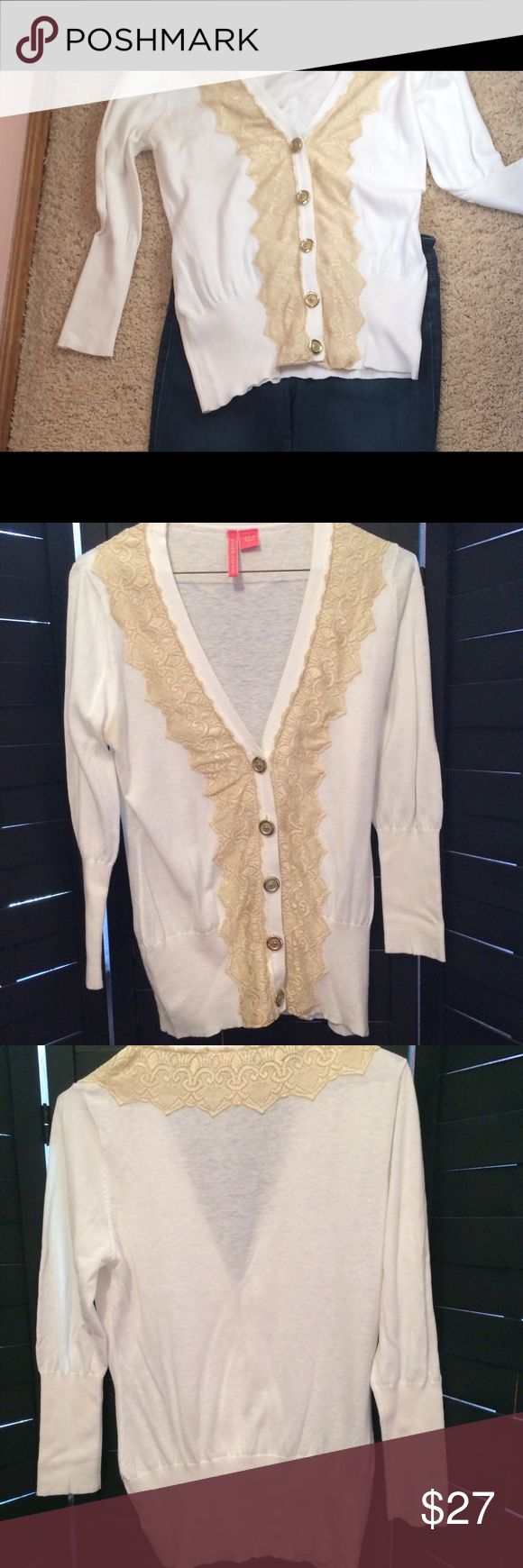 Charlotte Cream Cardigan.  Size L. Charlotte Cream Cardigan.  Gold buttons. Lace detail. Size L but fit well with my Size 6 body. Charotte Sweaters Cardigans