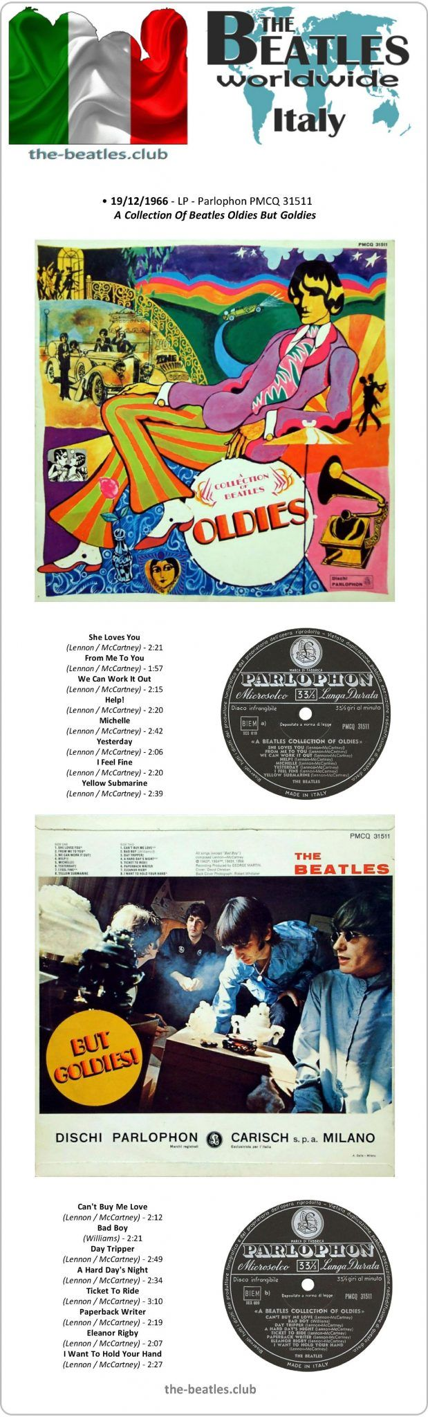 The Beatles Italy LP Parlophon PMCQ 31511 A Collection Of Beatles Oldies But Goldies! Vinyl Record Long Play Discography
