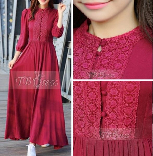 Hijab Compatible  Red Three-Quarter Sleeve Round Neck Women's Maxi Dress $53.19 tbdress.com