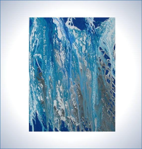Original Abstract Acrylic Painting Waterfall by DenesArtStudiosInc