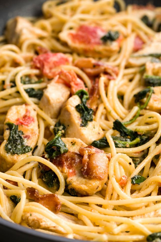 With chicken and bacon and a light sauce, this Tuscan Angel Hair Pasta is perfect date-night material.