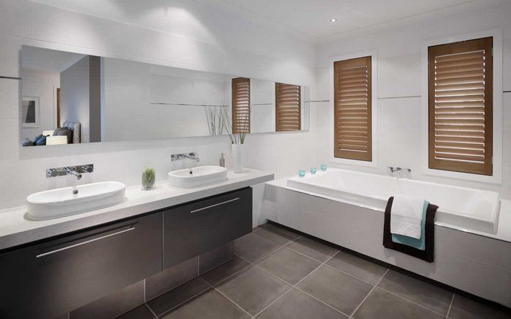 Ensuite style.  Floating bath and basins, plantation screens, contrasting colours