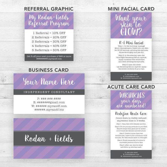 Rodan and Fields Business Cards Group Purple  by LittleBizDesigns