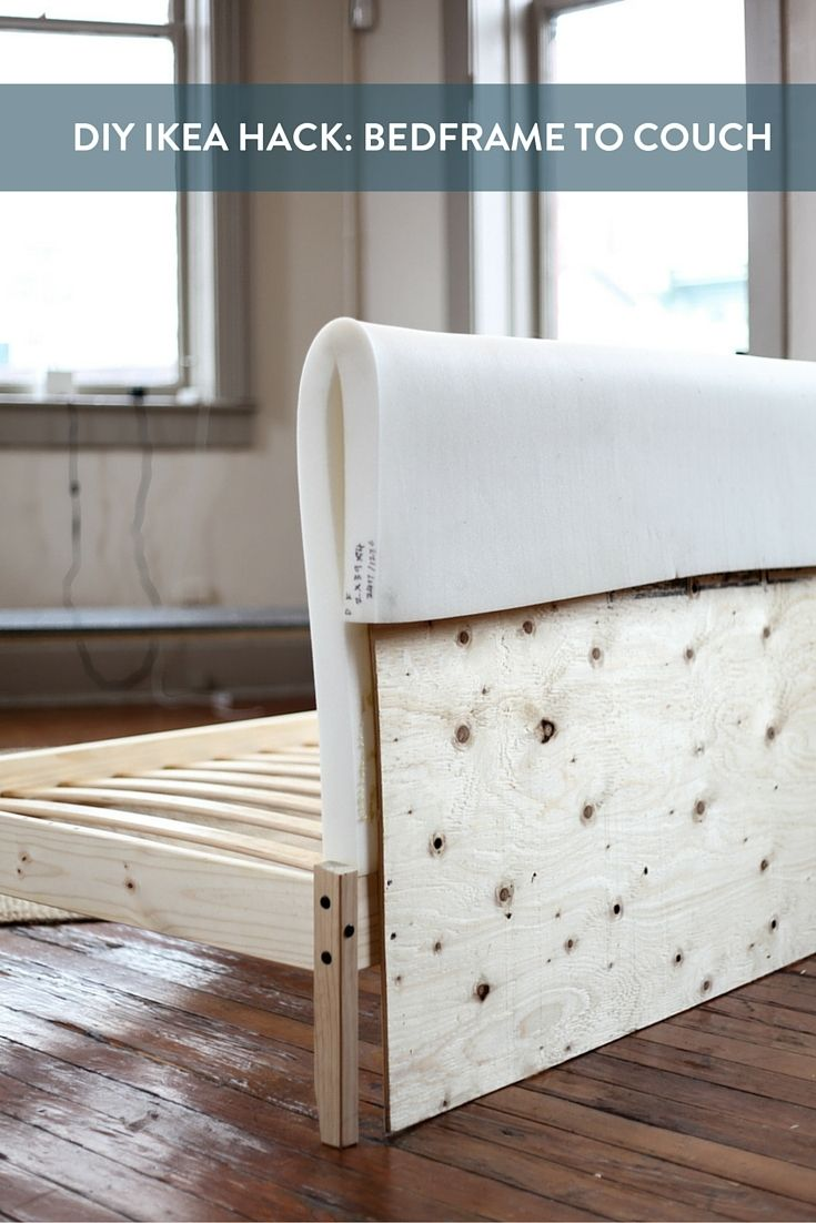 Turn in an expensive bed frame into a comfy cool couch. This would be a great weekend DIY to try!