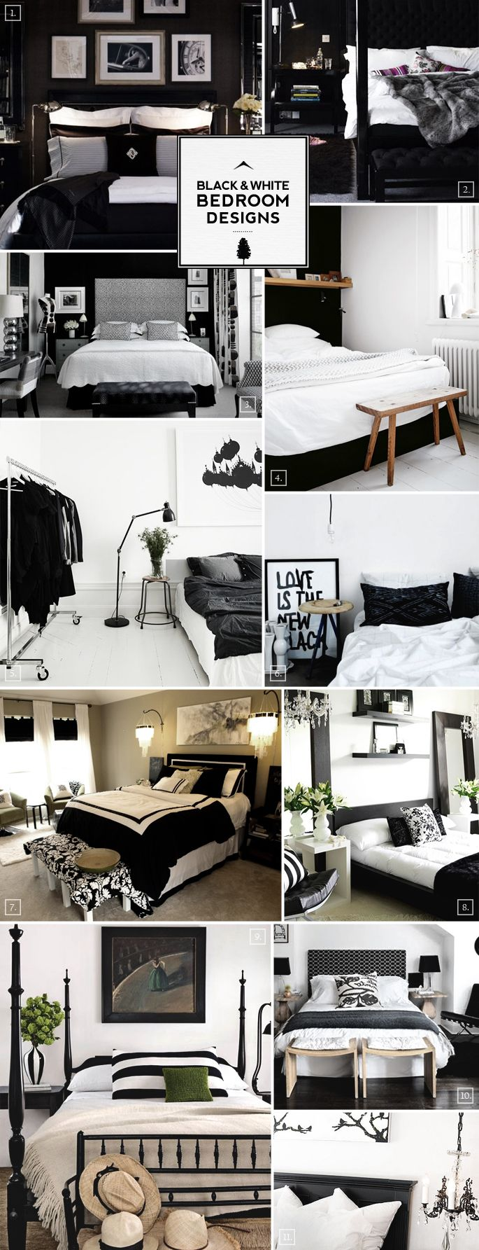 black and white bedroom designs and decor ideas. Interior Design Ideas. Home Design Ideas