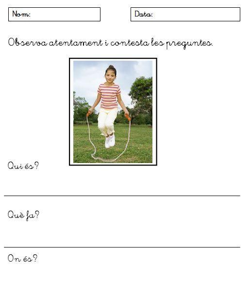 He creat aquestes fitxes per ajudar als alumnes de primer curs de cicle inicial de primària a escriure frases senzilles. Totes les fitxes tenen la mateixa estructura i els nens, a partir de l'obse...