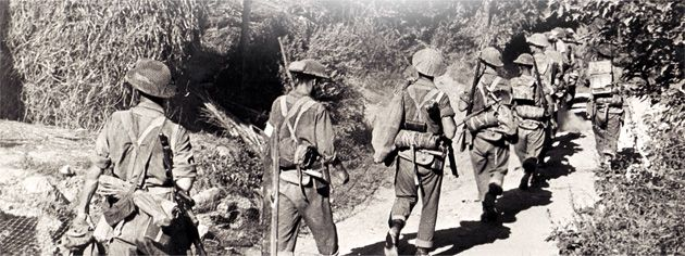 Canadian infantry advance on the Gothic Line in Italy, Aug. 1944