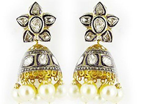 A jhumka for every occasion. #jpearls #victorianjhumkas #jhumkas #diamonds #fashion #india view more at www.jpearls.com