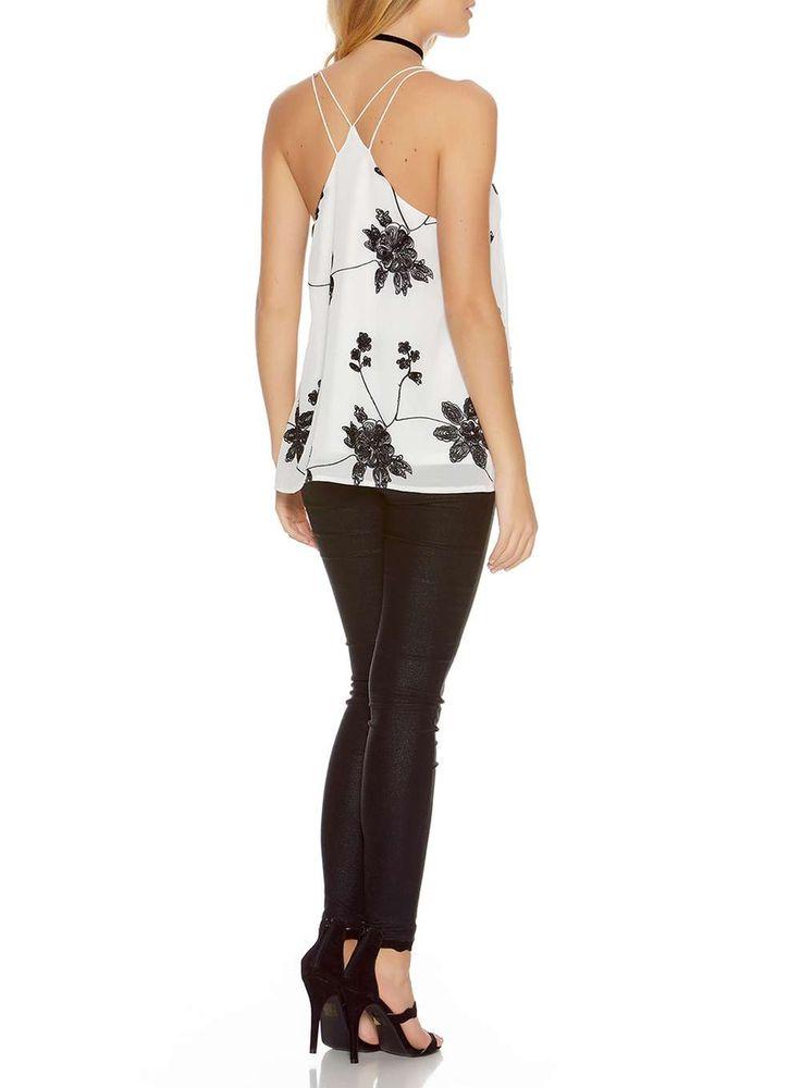 Womens *Quiz Multi Coloured Chiffon Floral Print Strappy Top- Black