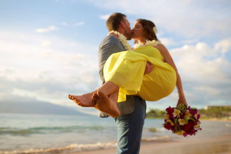 Bride in bright yellow - beach wedding - Anna Kim Photography