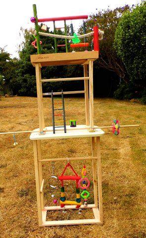 A fabulous home-made playgym for birds