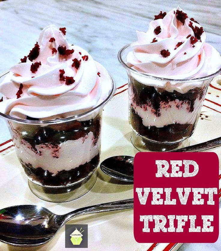 Red Velvet Trifle This is a delicious easy, made from scratch recipe. Serve in glasses or a large trifle bowl. Always a popular dessert!   #redvelvet #trifle #dessert