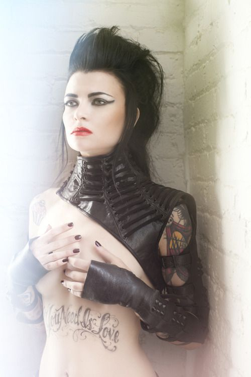 Image of BETOR - Mother of London Asymmetrical collar with lacing, black metal detailing
