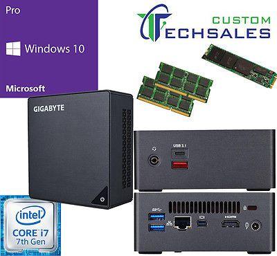 NEW Gigabyte Brix GB-BKi7HA-7500 i7 128GB M.2 SSD 32GB RAM Windows 10 Pro