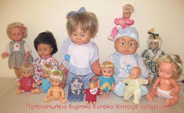 Διάφορες οικονομικές κούκλες, που οι περισσότερες είναι μωρά. Από διάφορες δεκαετίες.