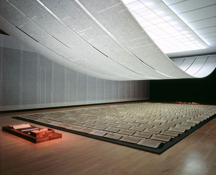 "Xu Bing Book from the Sky, ca. 1987–91 Installation of books and scrolls printed from carved wood types of invented characters Ink on paper Dimensions variable Installation view at ""Crossings"", National Gallery of Canada, Ottwawa, 1998 Courtesy of Xu Bing Studio"