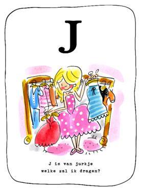 Alfabetkaart, J is van jurkje- Greetz