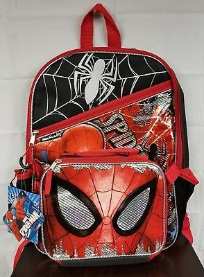Marvel Spiderman Backpack 16 inch Full Size with Detachable Lunch Bag